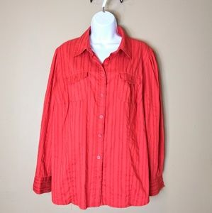 Style & Co. 14W red texture long sleeve blouse